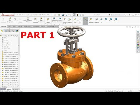 Solidworks Tutorial | Design And Assembly Of Stop Valve In Solidworks Part 1