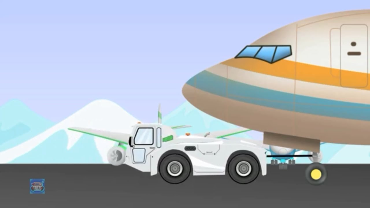 Aircraft tug Truck  | Airport vehicles | Car & Trucks For Children | Vehicles videos