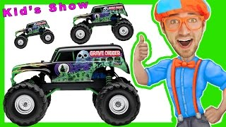 Learn Shapes & Numbers with Toy Monster Trucks with Blippi