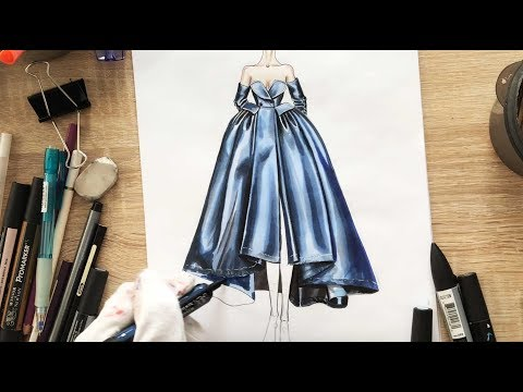 ALEXIS MABILLE BLUE SILK DRESS DRAWING TUTORIAL