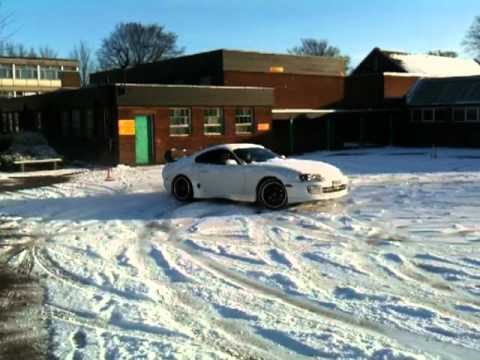 Toyota Supra Drifting In The Snow! Back Fires Like A Mother Fucker!