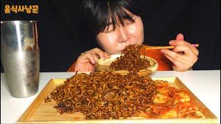 [음식사냥꾼] 사천짜파게티 3봉 리얼사운드먹방~!! jjajangmyeon spicynoodle 的略语 サチョンジャジャン kimchi eating sound Mukbang show