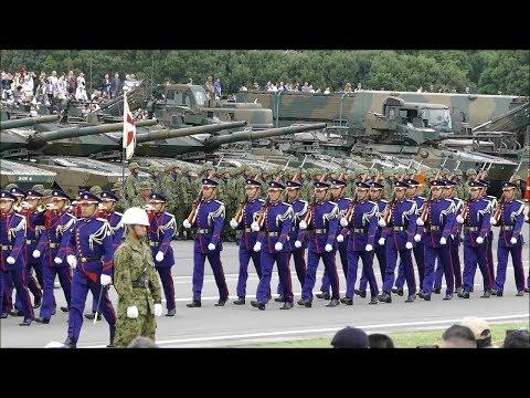 特別儀仗隊、対ゲリラ・コマンド装備の普通科隊員 自衛隊記念日観閲式総合予行 観閲部隊入場