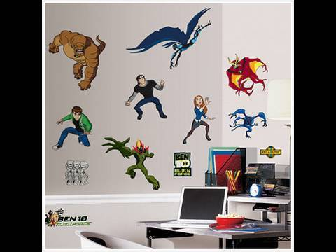 Ben 10 alien force sticker packs giant wall stickers youtube