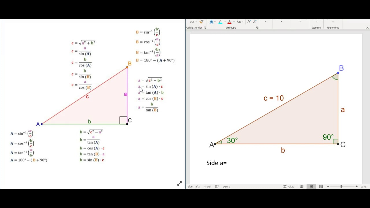Guide til trigonometri-hjælpeark