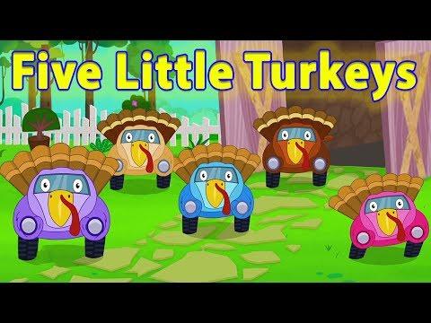 пять маленьких индеек | потешки и дети видео | Five Little Turkeys | Little Red Car Russia