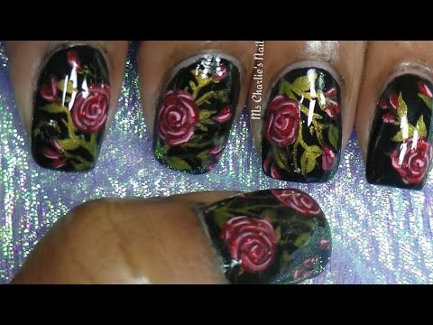 Antique Goth Roses Nail Art