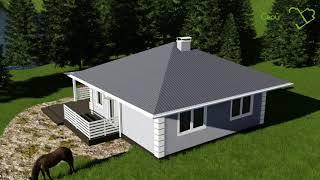Проект дачного домика Берлога A-002 с двумя спальнями и большой террасой
