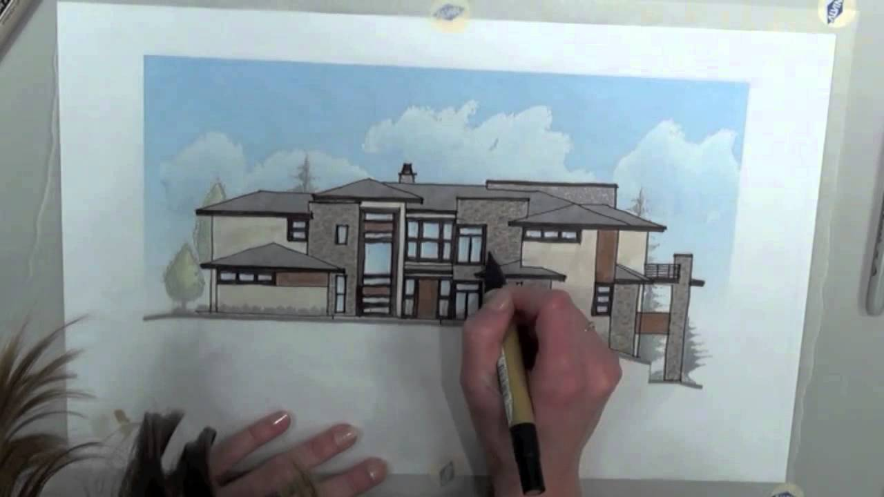Colorado Modern Residential Architectural Style Sketch by