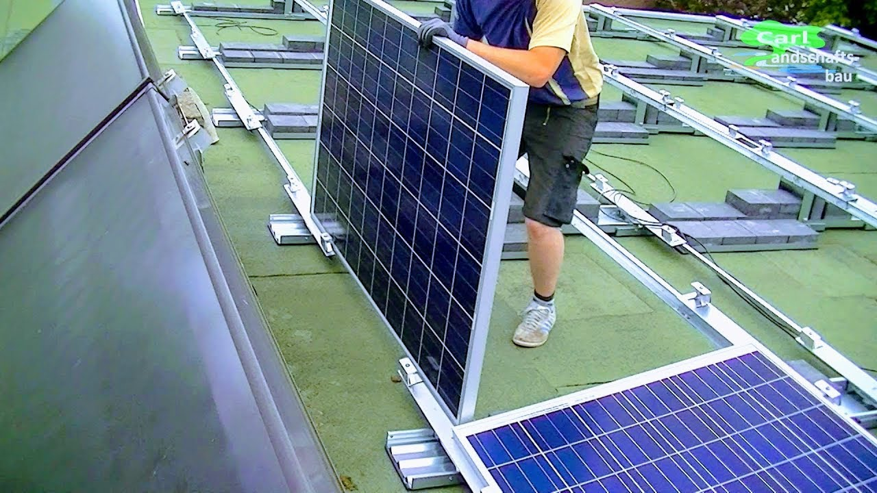 How To Install Home Solar System In Detail Mount Stands Cells Hook Panel Installation Wiring Up Power Wires On Roof Pv Array