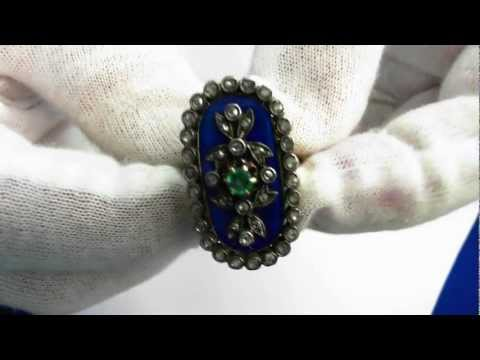 A rare Georgian Era (Circa 1760) Emerald and Diamond Giardinetti Ring