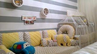 Tour pelo quarto do Marcos - Chevron, cinza e amarelo com detalhes azul