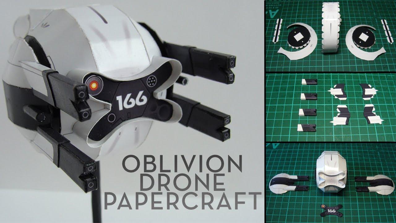 Papercraft Oblivion Drone Papercraft (Stop-motion assembly)