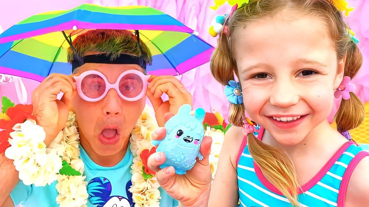 ناستيا و والدها يذهبان في رحلة عطلة الصيف! إجازة في الشاطئ