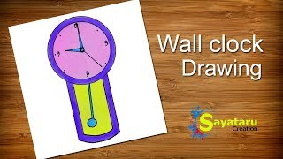 How to draw a Wall Clock step by step | Pendulum Clock Drawing