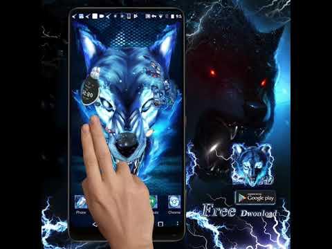 3D Blue Ice wolf theme