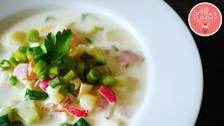 Russian Summer Soup - Okroshka Recipe - Окрошка на кефире.