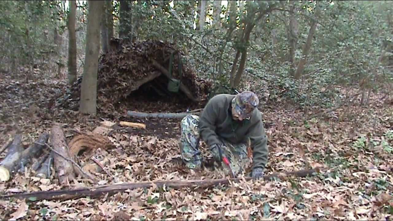 Camping Hiking Over Night Winter Adventure Debris Shelter Gathering Fire Wood Part3