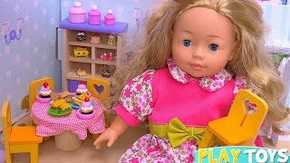 Cute Baby Doll Sets New Wooden Dollhouse with Furniture!