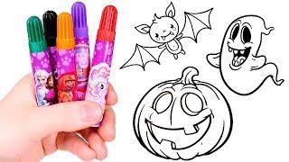 DIBUJA Y COLOREA 👻 Pintamos dibujo de Halloween con rotuladores mágicos