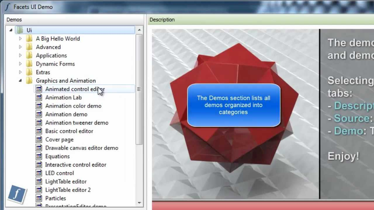 Using The Facets Ui Demo