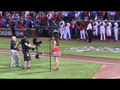 Zooey Deschanel sings national anthem 2011 Game 4 World Series Rangers Cardinals 10/23/11 Chinook