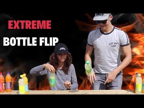 EXTREME BOTTLE FLIP CHALLENGE! | Gloria Berger & LayZ
