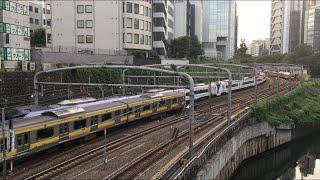 【そうぶせん、はちおうじ、ちゅうおうせん】総武線 E231系、E353系 特急 はちおうじ、中央線 E233系@水道橋〜御茶ノ水