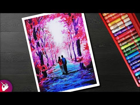 Autumn Season Scenery drawing for beginners with oil pastel – Couple walking under autumn trees