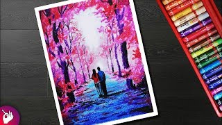 Autumn Season Scenery drawing for beginners with oil pastel - Couple walking under autumn trees