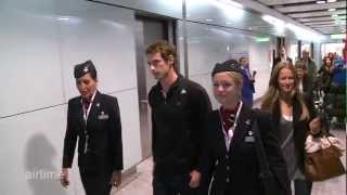 Andy Murray greeted by applause at Heathrow after winning US Open