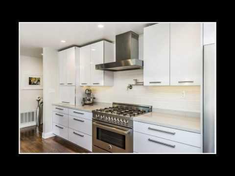 White gloss kitchen cabinets design