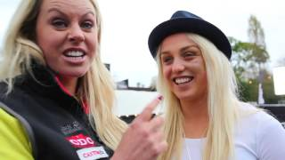 Chemmy Alcott interviews Aimee Fuller at the Ski and Snowboard Show 2015