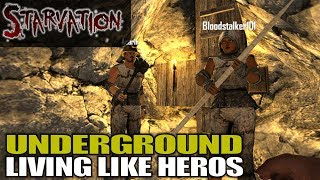 UNDERGROUND LIVING LIKE HEROS | Starvation MOD 7 Days to Die | Let