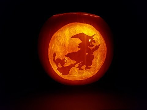 pumpkin carving 2017 witch, broom \u0026 cat against the moonpumpkin carving 2017 witch, broom \u0026 cat against the moon, timelapse
