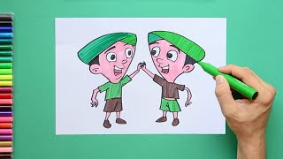How to draw and color Dholu Bholu from Chhota Bheem