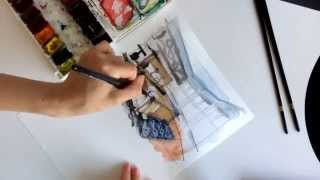 QUICK WATERCOLOR INTERIOR SKETCH: bedroom drawing, time-lapse