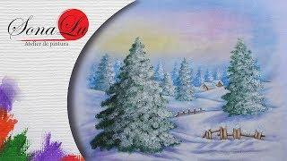 Pintura Natalina – Pinheiros em Tecido