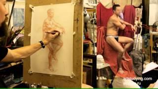 Короткий рисунок мужской сидящей. Обучение рисунку.Фигура. 81 серия.