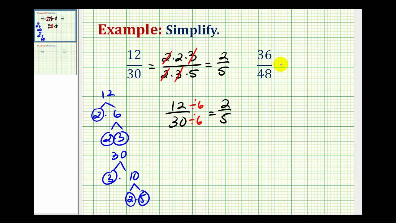 Worksheet How To Explain Simplifying Fractions example 1 simplifying fractions youtube fractions
