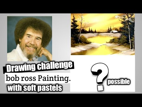 Drawing challenge Bob ross Painting / soft pastel tutorial for landscape