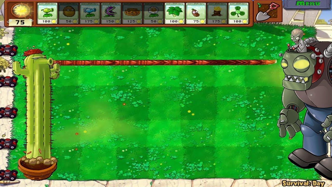 Plants vs Zombies Hack  | 1 Cactus Garlic vs All Zombies PvZ