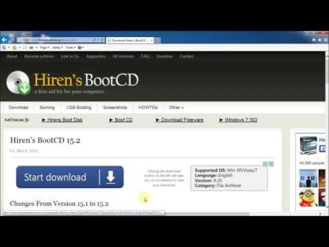 Hiren's 15.2 Boot CD Downloading, Creation And Booting Using Windows 7 On CD-R