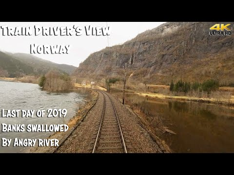 TRAIN DRIVER'S VIEW: Last Train 2019 - Banks Swallowed By Angry River