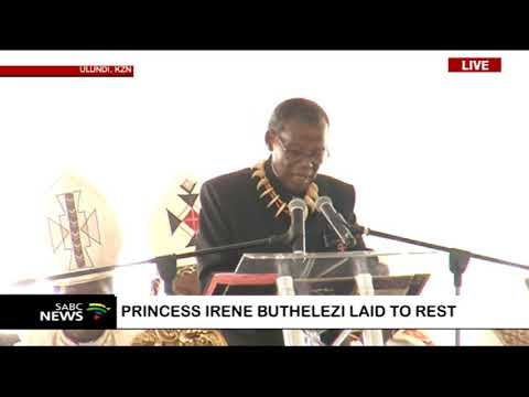 Mangosuthu Buthelezi gives vote of thanks at Princess Irene's funeral