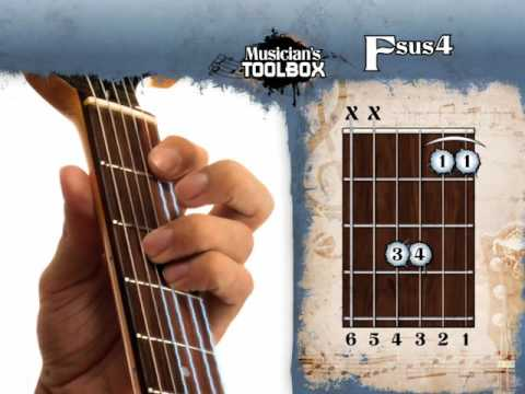 How to play the F sus 4 chord on guitar Fsus4 - YouTube