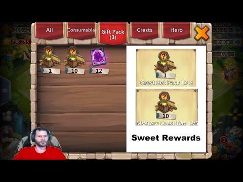 Opening Level 5 Crest Set Pack + 10 Level 5 Crest BAGS & Amazing Legendary CARD Rolls Castle Clash
