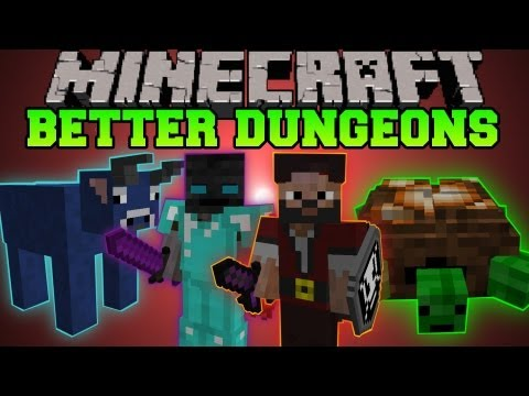 Minecraft: BETTER DUNGEONS (BOSSES, MOBS, MASSIVE DUNGEONS) Chocolate Quest Mod Showcase