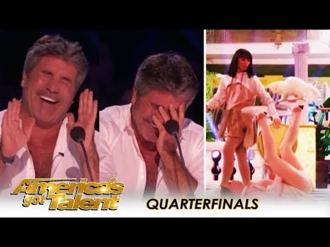 Savitsky Cats: Simon Cowell Suffers LAUGH ATTACK After Amazing Cat Act! | America's Got Talent 2018