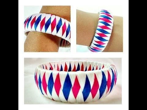 3 Colour Weave Silk Thread Bangle/Bracelet/Kada Diamond Design